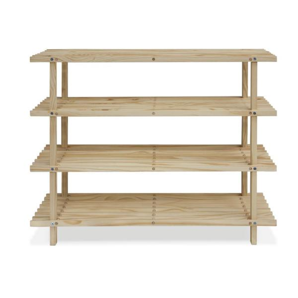 Furinno Pine Solid Wood Natural Color 4-Shelf Multipurpose Rack FNCJ-33005