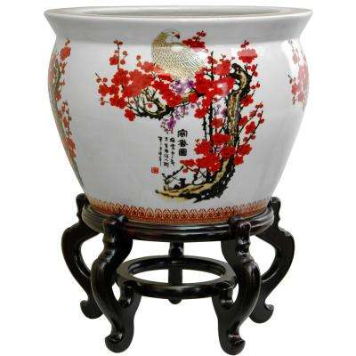 Oriental Furniture 18 in. Porcelain Fishbowl Cherry Blossom