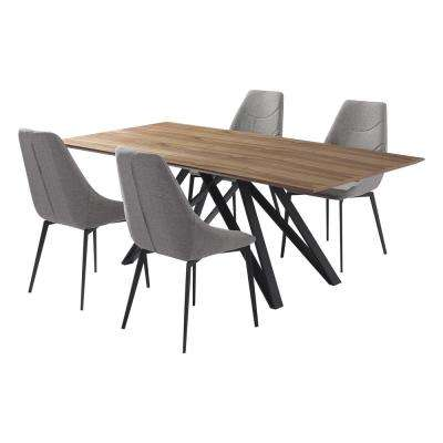 Modena 5-Piece Walnut Dining Set
