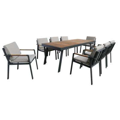 Nofi Gray 9-Piece Aluminum Outdoor Dining Set with Taupe Cushions