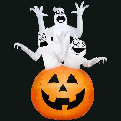 48.03 in. L x 43.31 in. W x 72.04 in. H Inflatable 3 Ghosts in Pumpkin Scene
