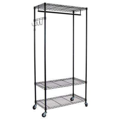 35.7 in. x 75.5 in. Heavy Duty 3-Shelf Steel Adjustable 4-Wheeled Garment Rack with Hooks in Black