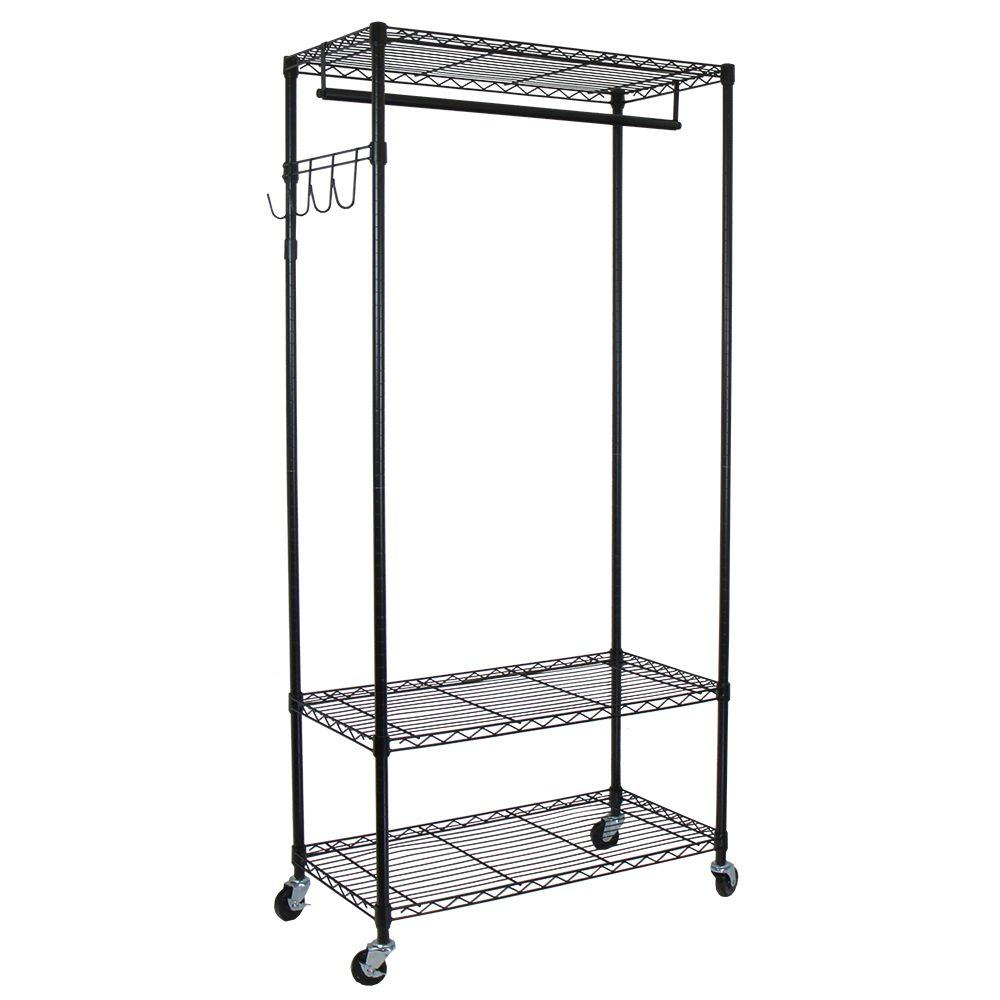 Heavy Duty 3 Shelf Steel Adjustable 4 Wheeled Garment Rack With Hooks In Black