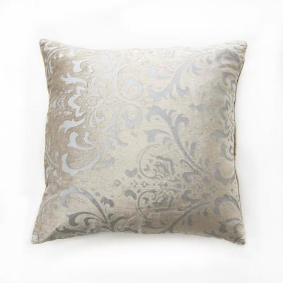 Damask Beige Graphic Cotton 18 in. x 18 in. Throw Pillow