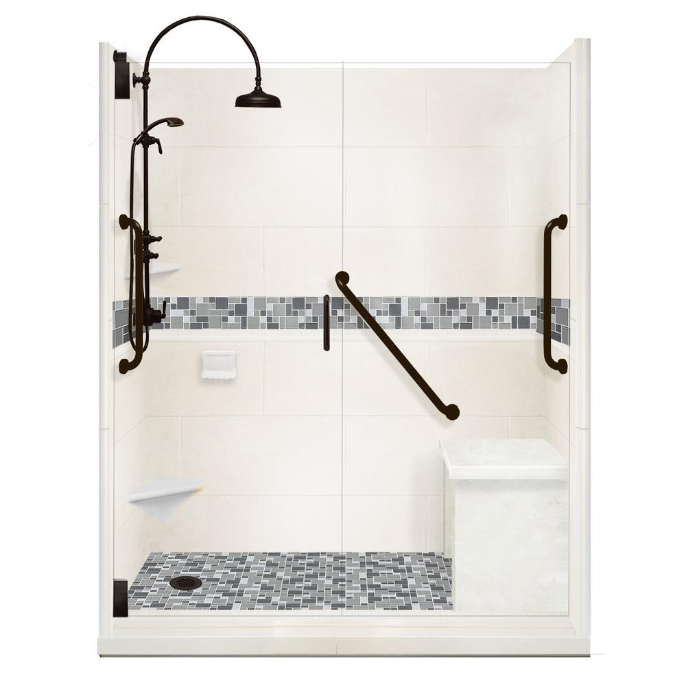 American Bath Factory Newport Freedom Luxe Hinged 42 in. x 60 in. Left Drain Alcove Shower in Natural Buff and Black Pipe Faucet/Hardware