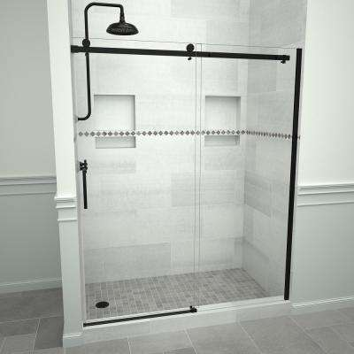 Redi Slide 5300 47 in. W x 76 in. H Semi-Frameless Sliding Shower Door in Matte Black with Handle and Clear Glass