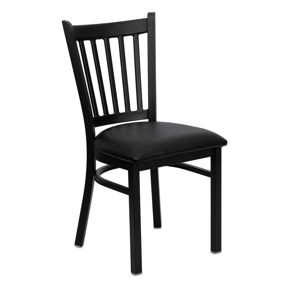Hercules Series Black Vertical Back Metal Restaurant Chair - Black Vinyl