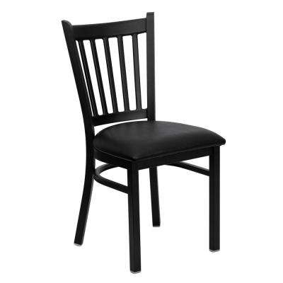 hercules series black vertical back metal restaurant chair