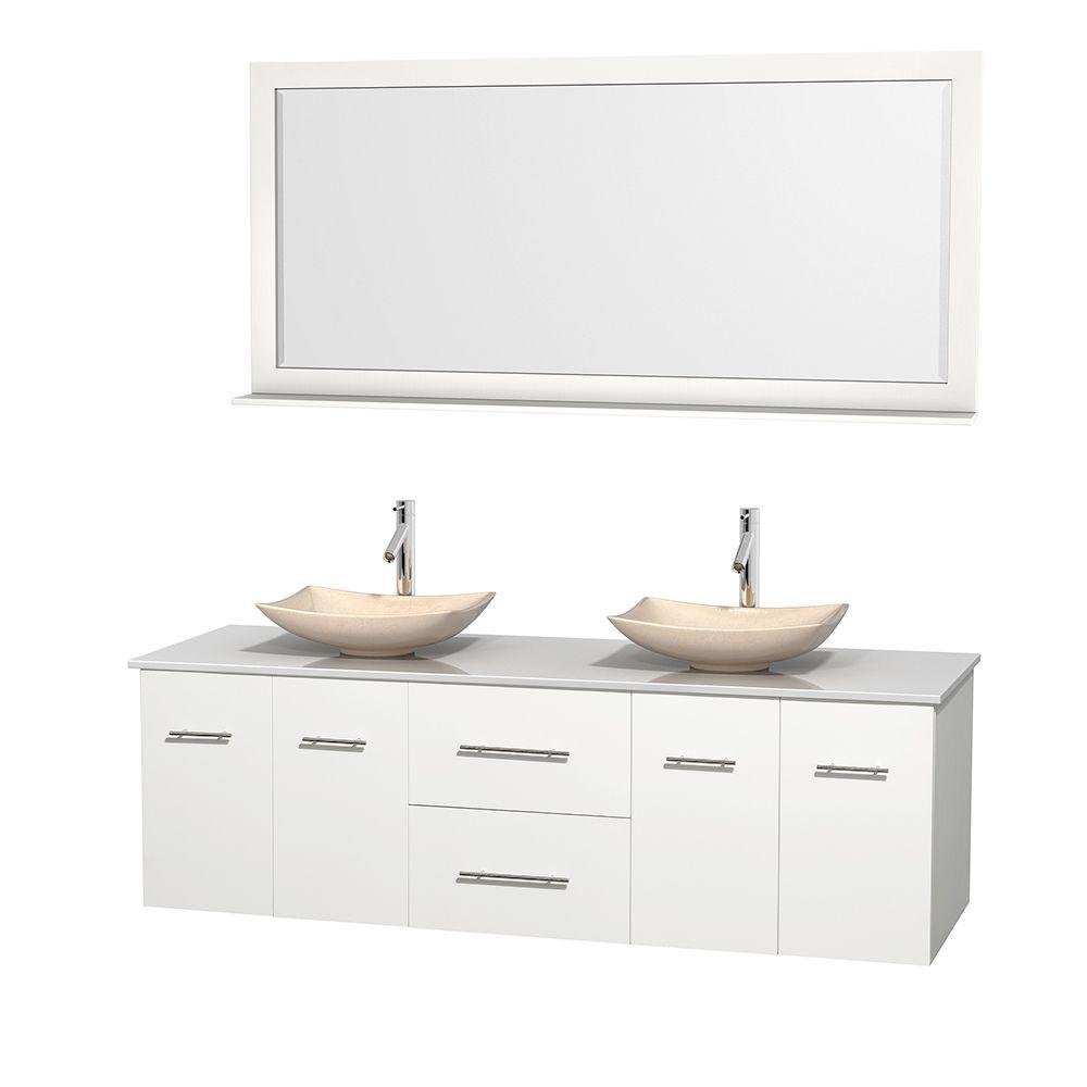 Wyndham Collection Centra 72 in. Double Vanity in White with Solid-Surface Vanity Top in White, Ivory Marble Sinks and 70 in. Mirror