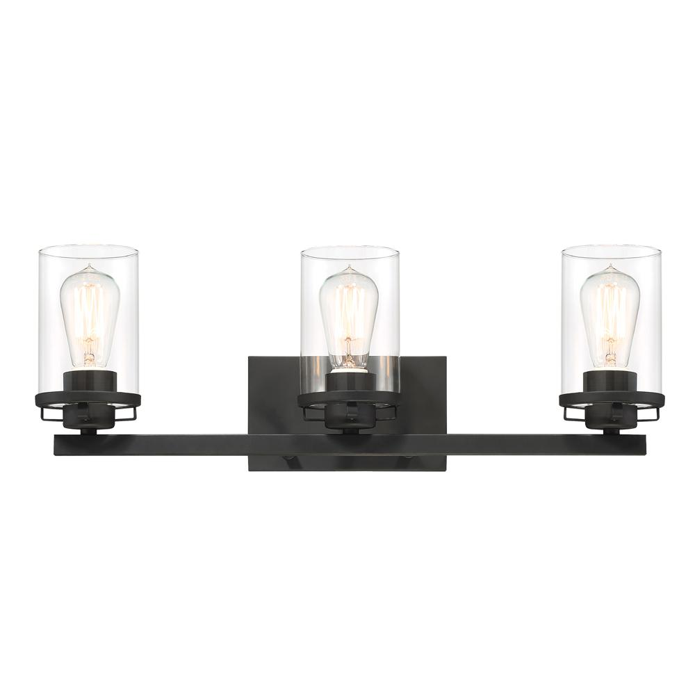 Designers fountain jedrek 3 light black bath bar vanity - Chapter 3 light bar bathroom light ...