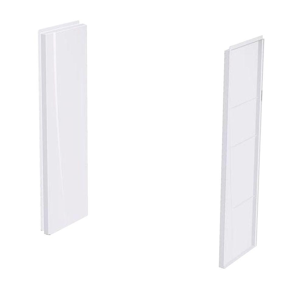 A2 8 in. x 24 in. x 62 in. 2-piece Direct-to-Stud Shower Wall Panels in White