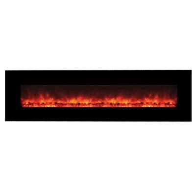 Master of Romance 95 in. Wall-Mount Electric Fireplace in Black