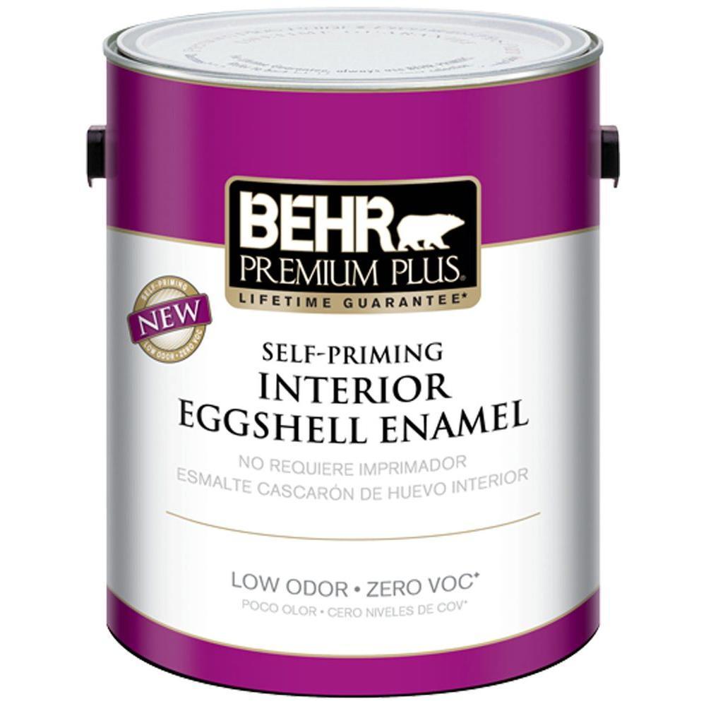 BEHR Premium Plus 1-gal. Linen White Eggshell Enamel Zero VOC Interior Paint - DISCONTINUED