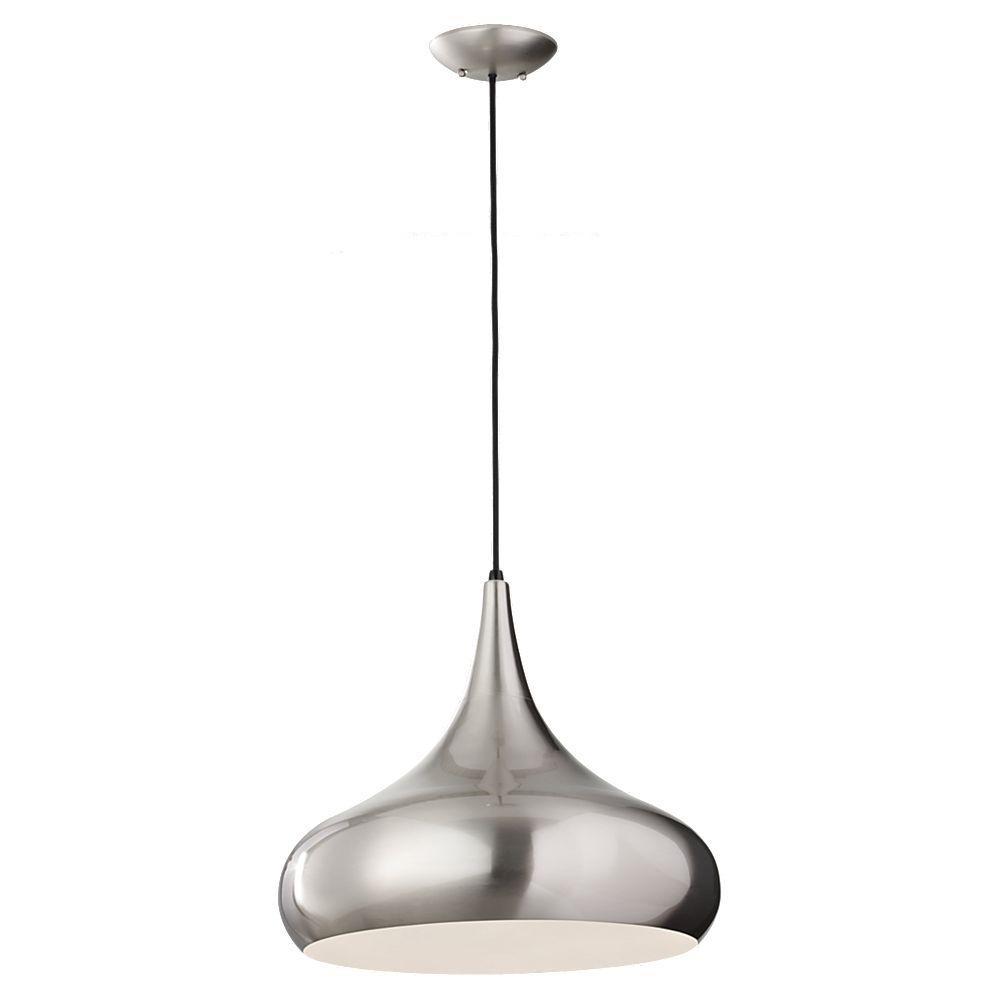 Feiss Belle 1-Light Brushed Steel Pendant