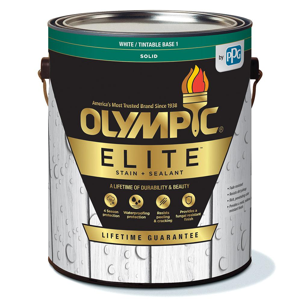 Olympic Elite 1 Gal. Base 1 Solid Advanced Exterior Stain and Sealant in One