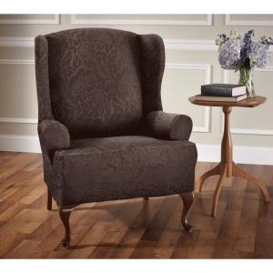 Stretch Floral Wing Chair Slipcover