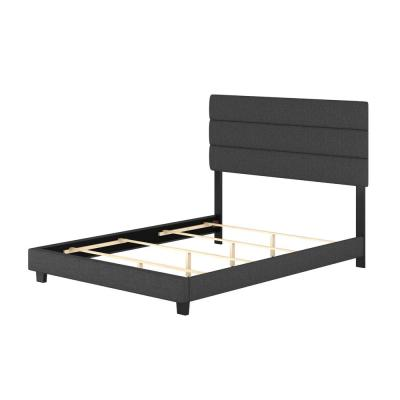 Vivian Black Linen Queen Upholstered Platform Bed Frame