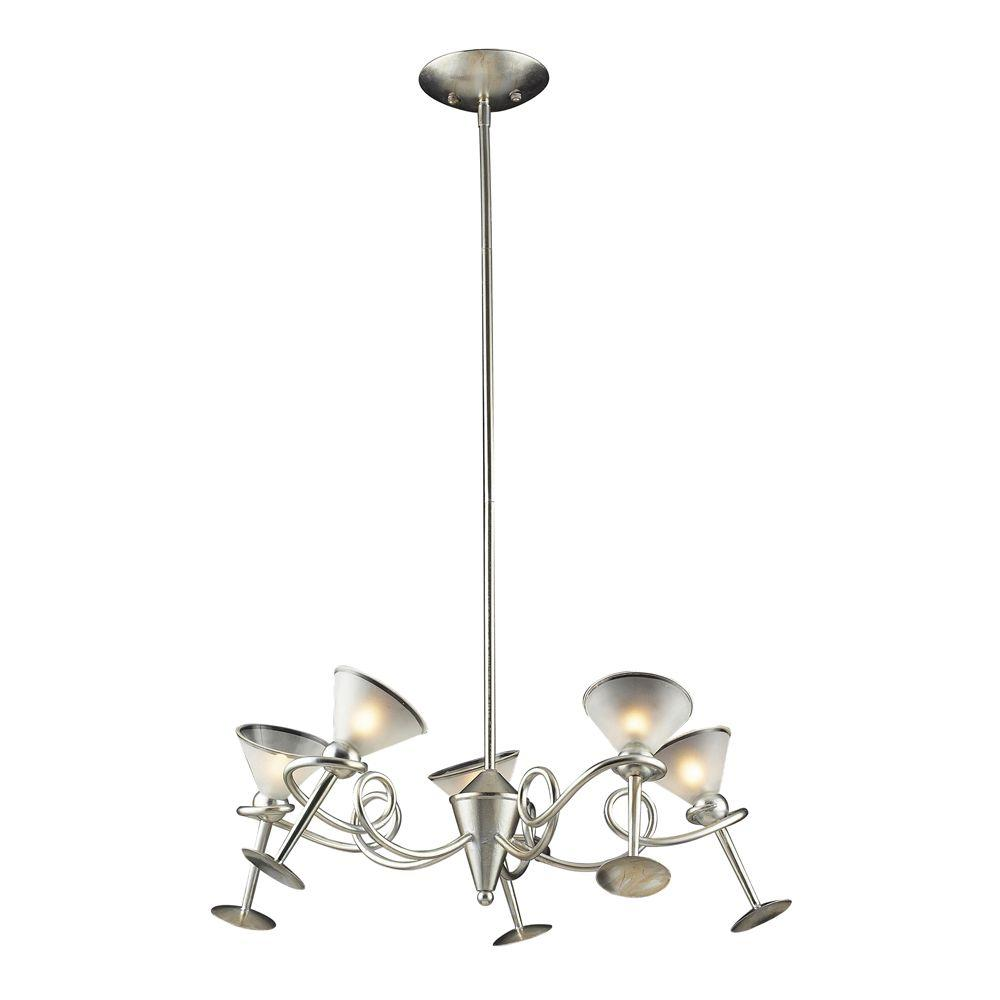 Titan Lighting Martini Glass 5-Light Ceiling Mount Silver Leaf Chandelier-DISCONTINUED