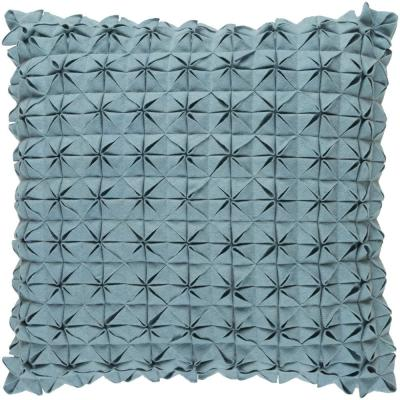 Capener Blue Solid Polyester 20 in. x 20 in. Throw Pillow