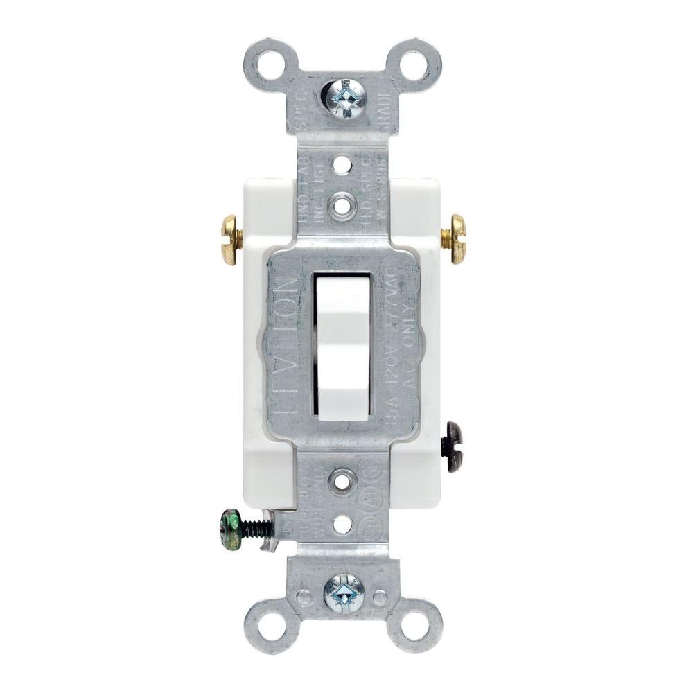 Leviton 20 Amp 3-Way Commercial Toggle Switch, White