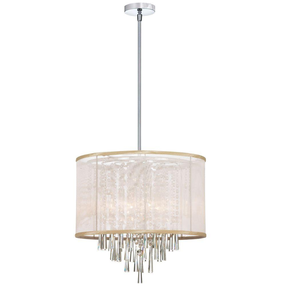 Radionic Hi Tech Josephine 6 Light Polished Chrome Crystal Chandelier With Oyster Organza Shade