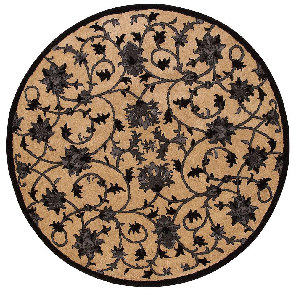 Home Decorators Collection Paloma Beige and Black 5 ft. 9 in. Round Area Rug