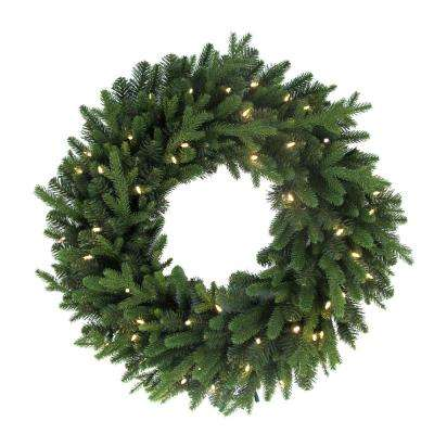 32 in. Norway Artificial Christmas Wreath with 50 Battery Operated LED Lights