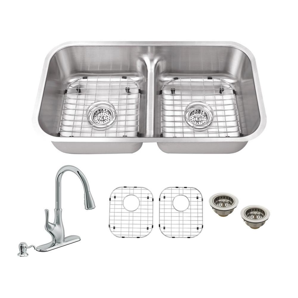 Low Divide Stainless Steel Undermount Kitchen Sinks Kitchen Sinks The Home Depot