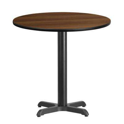 30 in. Round Black and Walnut Laminate Table Top with 22 in. x 22 in. Table Height Base