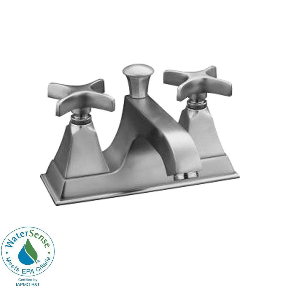 KOHLER Memoirs 4 in. 2-Handle Bathroom Faucet with Stately Design in Brushed Chrome-DISCONTINUED