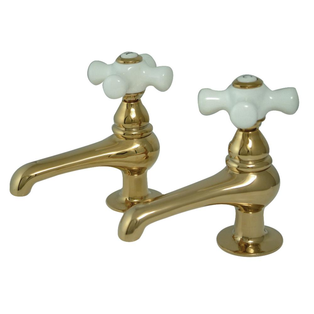 Brushed Brass Hot Cold Assembly Taps 1//4 Turn Shower Bathtub or Basin
