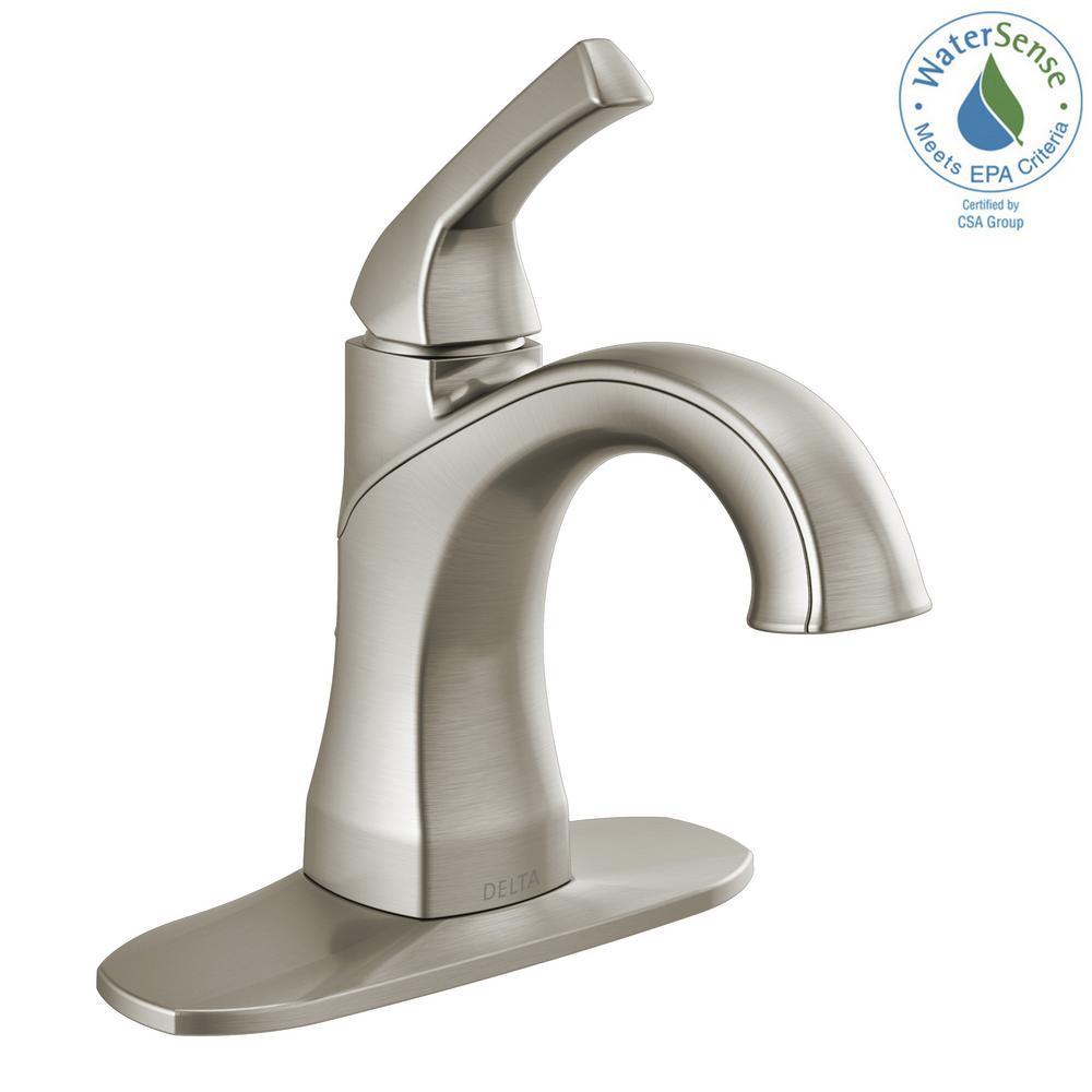 Portwood 4 in. Centerset Single-Handle Bathroom Faucet in SpotShield Brushed Nickel