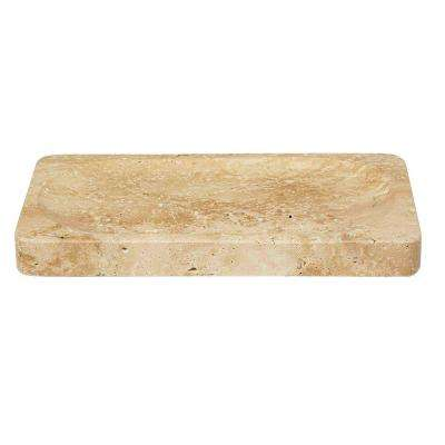 Roman Spa 9 in. Amenity Tray in Travertine Stone