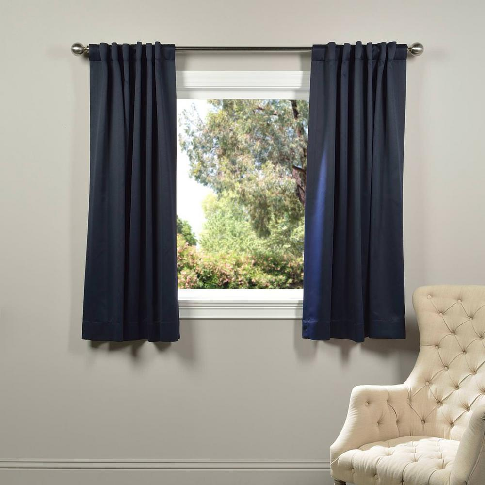 Exclusive Fabrics Furnishings Semi Opaque Navy Blue Blackout Curtain