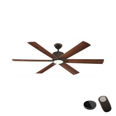 Renwick 60 in. Integrated LED Oil Rubbed Bronze Ceiling Fan with Remote Control works with Google and Alexa