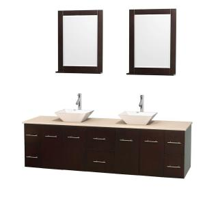 Wyndham Collection Centra 80 inch Double Vanity in Espresso with Marble Vanity Top in Ivory, Porcelain Sinks and 24 inch... by Wyndham Collection