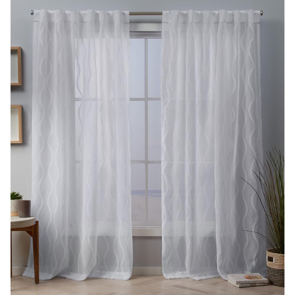 Belfast 54 in. W x 84 in. L Sheer Hidden Tab Top Curtain Panel in White (2 Panels)