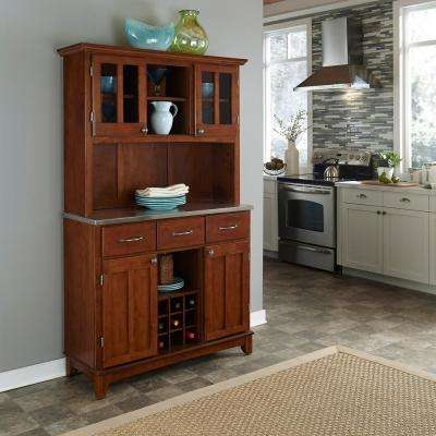 Cherry and Stainless Buffet with Hutch