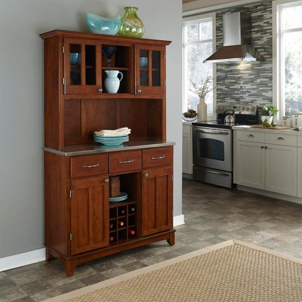 Home Styles Cherry and Stainless Buffet with Hutch 5100-0073-72