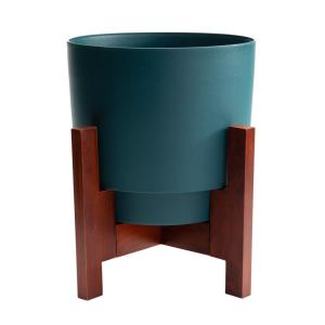 Hopson Medium 14 in. Charleston Green Plastic Planter with Wood Stand