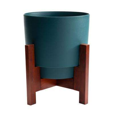 Hopson Medium 14 in. Charleston Green Planter with Wood Stand