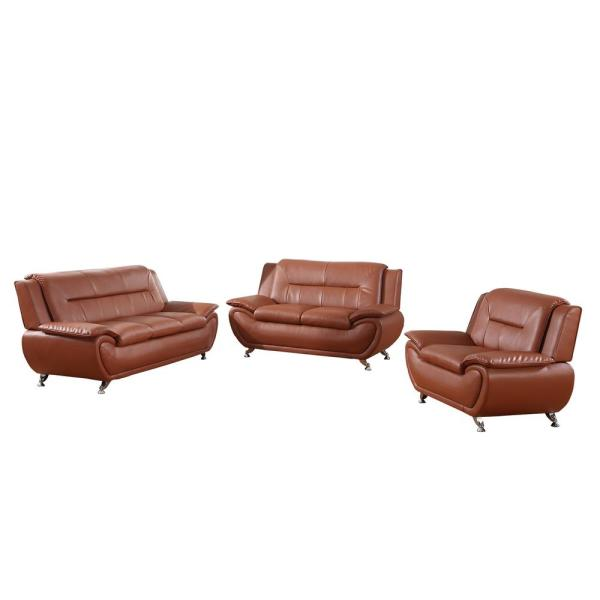 3-Piece Martell Brown Leather Sofa Set