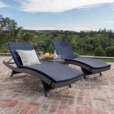 Miller Grey 3-Piece Wicker Outdoor Chaise Lounge and Table Set with Navy Blue Cushions