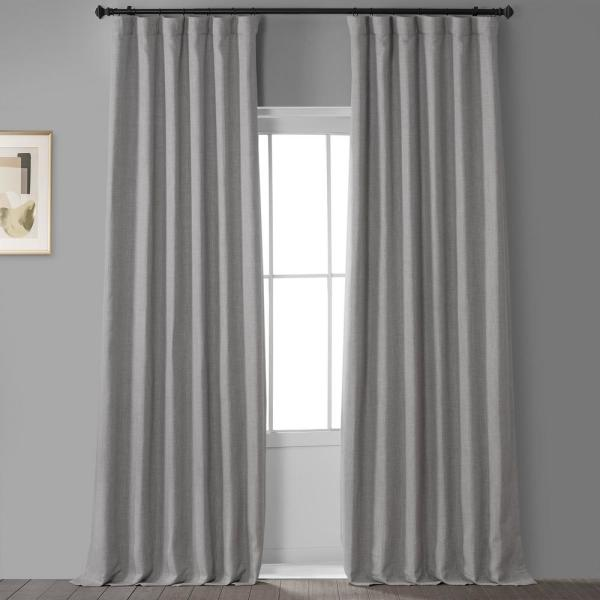 Oatmeal Beige Faux Linen Blackout Curtain - 50 in. W x 108 in. L