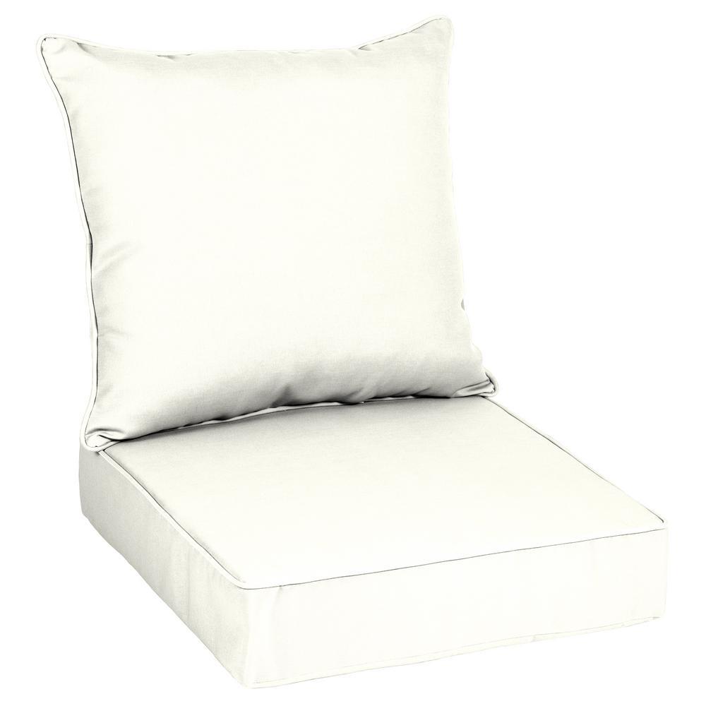 Oak Cliff 24 x 24 Sunbrella Canvas White Deep Seating Outdoor Lounge Chair Cushion