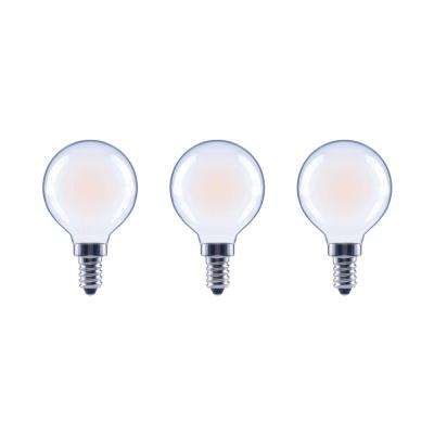 60-Watt Equivalent G16.5 Globe Dimmable Energy Star Frosted Glass Filament Vintage LED Light Bulb Daylight (3-Pack)