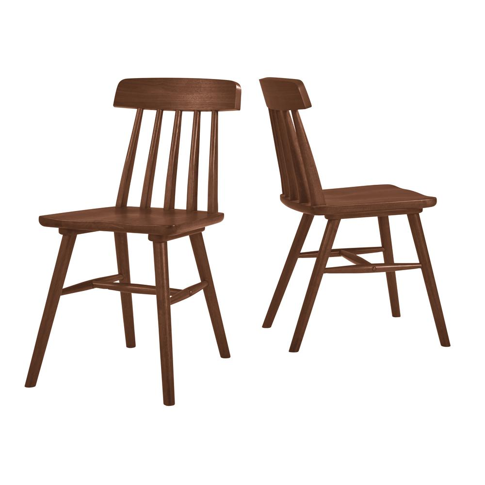 Handy Living Brookside Armless Wood Dining Side Chair In Dark Walnut (Set  Of 2)