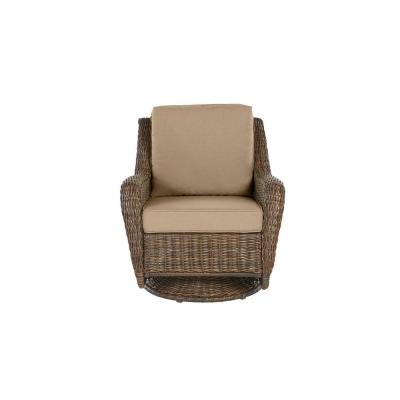 Cambridge Brown Wicker Outdoor Patio Swivel Rocking Chair with CushionGuard Toffee Solid Cushions