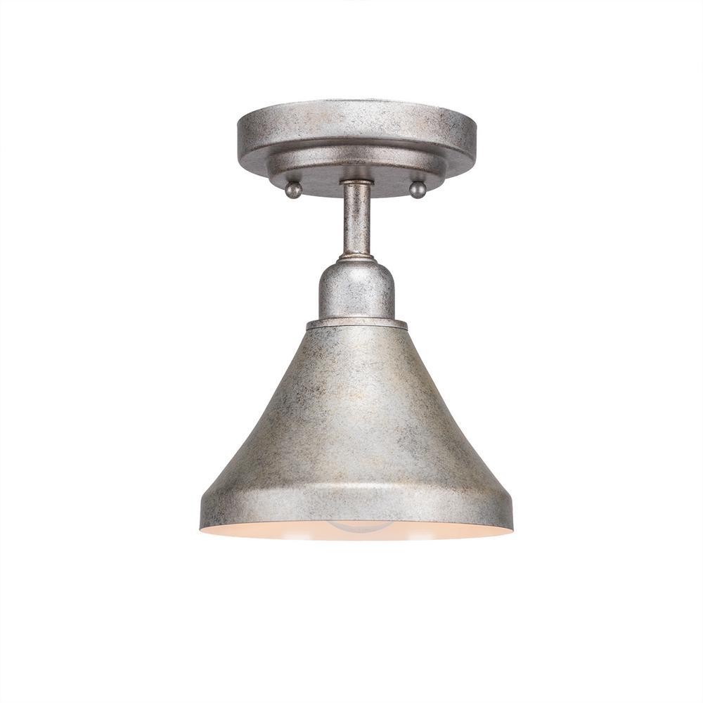 Filament Design 7 in. 1-Light Dark Granite Semi-Flush Mount with Aged Silver Metal Shade Steel