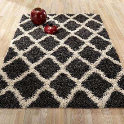 cozy shag collection charcoal gray and cream moroccan trellis design 7 ft 10 in